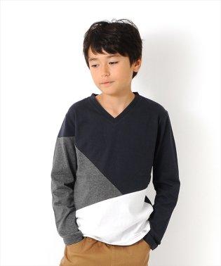 天竺・カラーブロック切り替えVネック長袖Tシャツ