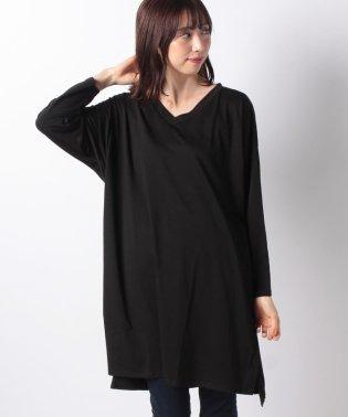 VネックスリットドルマンロングTシャツ [C4012]