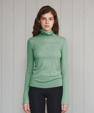<H>SHEER TURTLE NECK PULLOVER/カットソー