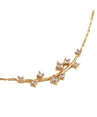 優美な輝きを放つ、枝デザインのビジュー華奢ネックレス