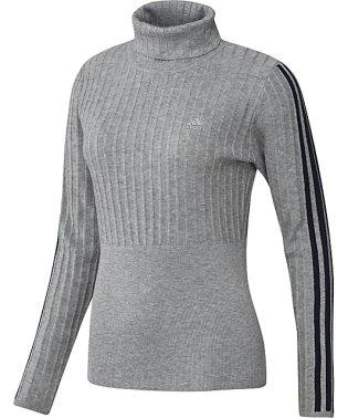 アディダス/レディス/リブパターン タートルネック長袖セーター