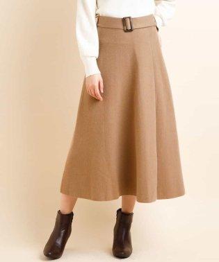 【WEB限定/セットアップアイテム】ベルテットニットフレアスカート