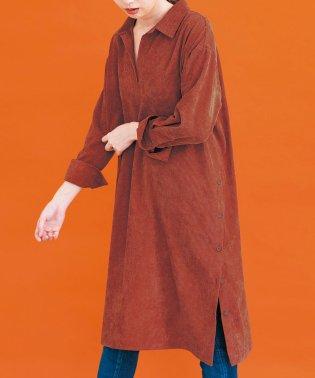 裾ボタンコーデュロイロングシャツ