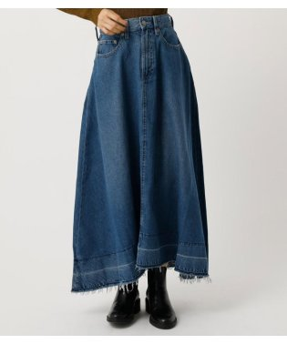 FLARE FRINGE DENIM MAXI SKIRT