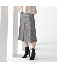 イタリア製ストレッチチェック センタープリーツスカート