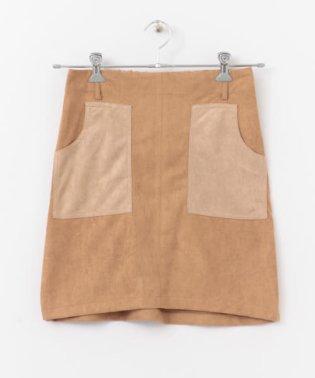 フェイクスエード配色スカート