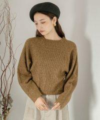 ストレッチキャメルクルーネックセーター