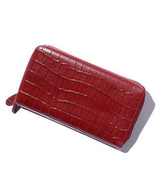 たっぷりカードポケット牛床革型押し長財布