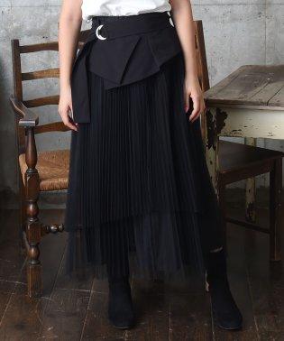 コルセットベルト付チュールスカート