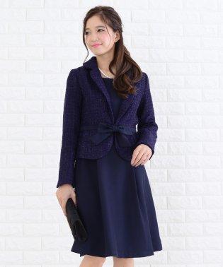 ツイードジャケットリボン付ツーピーススーツ・セットアップ・ワンピース・ドレス