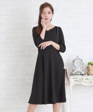 七分袖シンプルAラインワンピース・ドレス