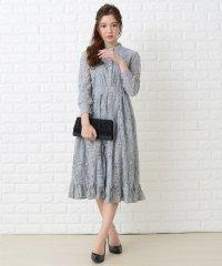 裾フリル総レースブラウス風フレアワンピース・ドレス
