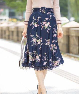 裾レース装飾マーメイドフラワープリントスカート