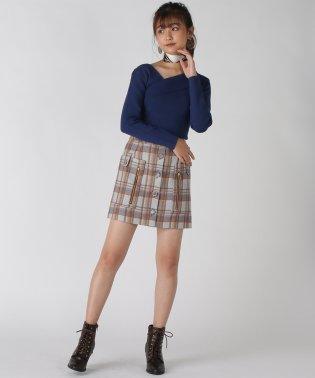 チェックZIP台形ミニスカート