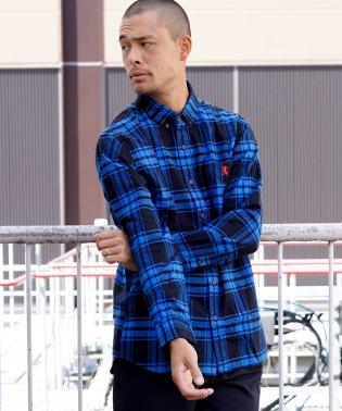 [GIORDANO]ライオン刺繍ボタンダウンフランネルシャツ