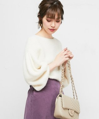 【natural couture】ちょびフェザー横リブニット