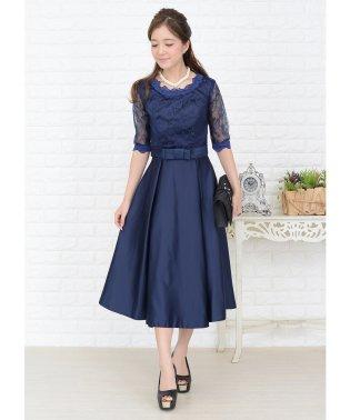ウエストリボン付きサテン風Aラインワンピース・ドレス