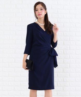 サイドリボン付き七分袖ワンピース・ドレス