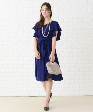 フリル袖巻きスカート風ワンピース・ドレス