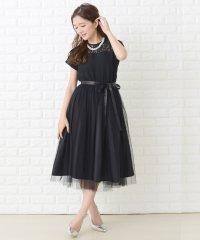 【選べる2タイプ】ウエストリボン付きオーガンジーレースフレアワンピース・ドレス