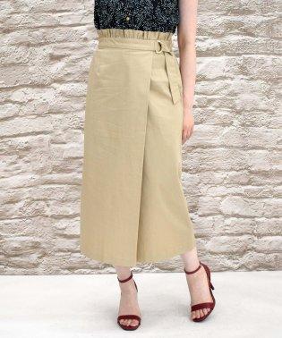 コットンサテンストレッチラップタイトスカート
