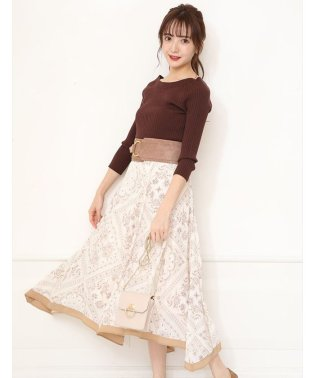 【美人百花11月号掲載】NEWベルト付スカーフ柄スカート