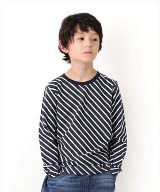 天竺・斜めボーダー長袖Tシャツ