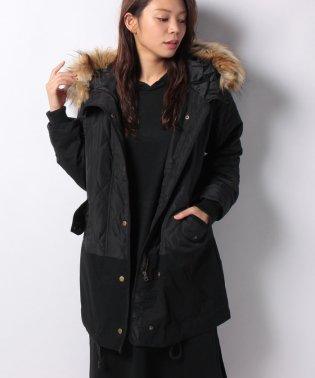 高密度タフタ×綿ツイル切り替え薄中わたモッズコート