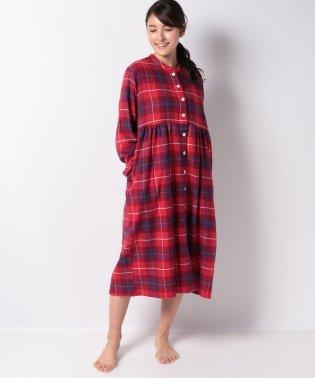 タータンチェック柄長袖ワンピースパジャマ