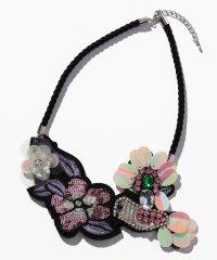 鳥ビーズ刺繍ロープネックレス