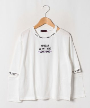 衿スリットロゴ長袖Tシャツ