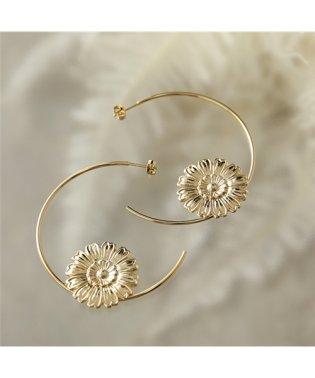 LD HEN 2 Henriette アンリエット Fine hoop earrings フラワー×フープ ピアス ゴールド レディース