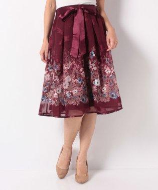 リボン付花柄フレアスカート