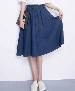 デニム風 フレア スカートレディース ウエストゴム ひざ丈スカート ボタン付き ミディアムスカート