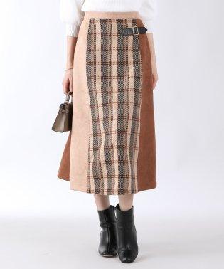 スエード×チェック異素材MIXスカート