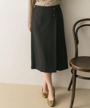フロント釦ラップ風スカート