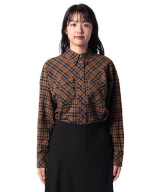 ウール混チェックガーゼオーバーサイズシャツ・ブラウス