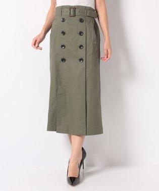 ベルト付きタックトレンチミモレ丈スカート