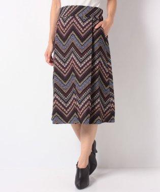 幾何学柄ゴブラン織りひざ丈ハイウエストスカート