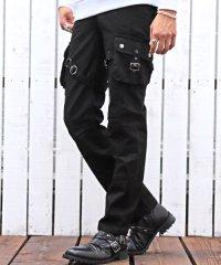 ベルトデザインスリムカーゴパンツ/カーゴパンツ メンズ ベルト ポケット