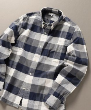 SHIPS JET BLUE: チェックボタンダウンネルシャツ
