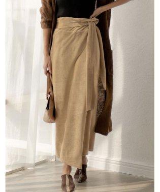 歩くたびに揺れる表情が上品で女性らしい ストレッチコーデュロイウエストリボンラップ風スカート スカート/スカート