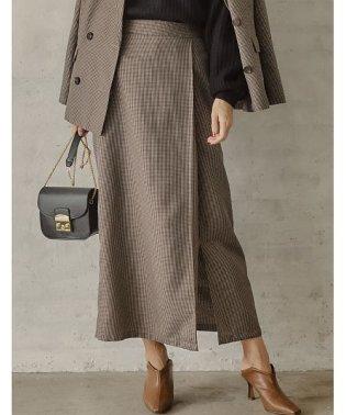 すらっとスタイルアップが叶う大人の着回しアイテム ガンクラブチェック柄ラップ風ナロースカート スカート/スカート