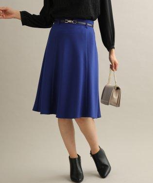 【TVドラマ着用】【EASY CARE】ウォッシャブルフラノ合皮ベルト付フレアスカート