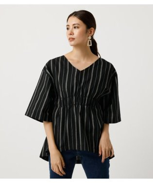 STRIPE WAIST GATHER TUNIC