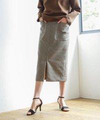 高密度ウールポリエステルチェック ジップタイトスカート