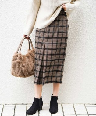 【InRed11月号掲載商品】モールチェックストレッチナロースカート