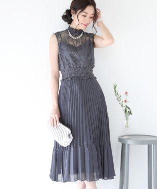 《結婚式 パーティー 二次会》レースシャーリングプリーツスカートドレス