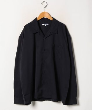オープンカラー開襟長袖ストレッチビッグシルエットシャツ