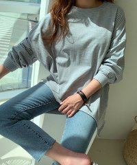 NANING9(ナンニング)ユニークカットストライプTシャツ